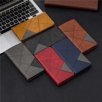 samsung galaxy A50 flip cover leather wallet geometris dompet kulit
