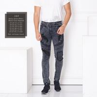 HISROOM - Skinny Jeans Bikers Ripped Celana Jeans Pria Sobek Lutut - 164 Black Snow, 29