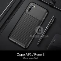 Case Oppo A91 Reno3 Reno 3 Synthetic Fiber Protective Carbon