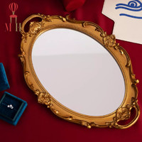 Oval Vintage Make Up Jewelry Accessories Organizer Gold Mirror Tray