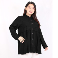 STAYL [Lebaran] - Qanita Tunik Blouse Wanita LD 120 3XL Fashion Muslim - Hitam, XL