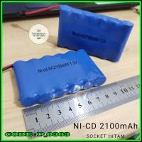 Baterai Battery NiCd RC AA 2100mAh 7.2V Socket Hitam isi 6