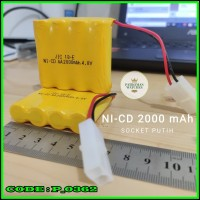 Baterai Battery Batrey NiCd RC AA 2000mAh 4.8V Socket Putih isi 4