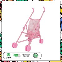 Mainan Anak Stroller Bayi Dorongan Boneka Kereta Dorong Lipat Pink