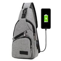 Freeknight Tas Selempang Pria USB Charger Import Sling Bag TS402 - Abu-abu Muda