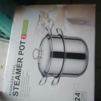 panci tim 2 susun steamer pot 24 cm stainless steel