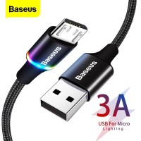 Kabel Data Fast Charging Android Micro 3A QC 3.0 Baseus 100cm LED RGB