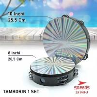Tamborin hologram 10 inchi/ kecrekan tambourine