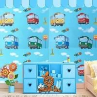 Wallpaper sticker dinding biru motif karakter anak tayo 10m x 45cm