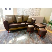 Sofa Putus Retro Minimalis 3 Seater Puff + 2 Stool Bulat - Biru