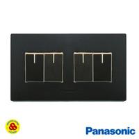 Panasonic Saklar 4G WESJ5931+WESJ78049 Style Series 4 Gang Matte Black