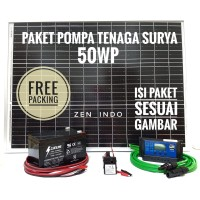 Paket Pompa Tenaga Surya Solar Panel 50 WP Pompa DC 12V 240 L/H 4,2 W