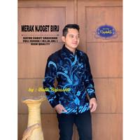 Kemeja Batik Pria MERAK NJOGET BIRU Lengan Panjang By RAJA SAKTI