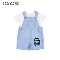Torio Blue Bus Denim Overall Set - Pakaian Anak Baju Anak Jumper Anak