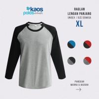 Kaos Polos Raglan Lengan Panjang Size XL