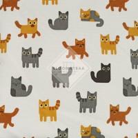 Kain Kanvas Kucing Putih bahan canvas meteran motif white cat fabric