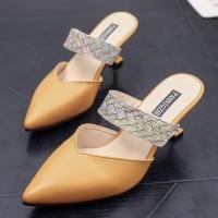 READY STOK JSH661-yellow Sepatu Heels Pesta Elegan Wanita 7CM