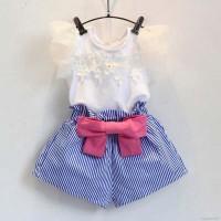 Asli Pakaian Anak: Set 2 Buah Kaos+Celana Pendek Untuk Bayi Balita Per