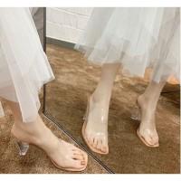READY STOK JSH600-apricot Sepatu Heels Transparan Import 7CM
