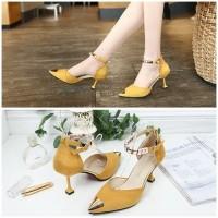 READY STOK JSH913-yellow Sepatu Heels Cantik Elegan Import 7.5CM