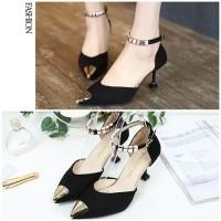 READY STOK JSH913-black Sepatu Heels Cantik Elegan Import 7.5CM