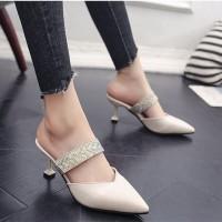 READY STOK JSH661-beige Sepatu Heels Pesta Elegan Wanita 7CM