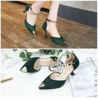 READY STOK JSH913-green Sepatu Heels Cantik Elegan Import 7.5CM