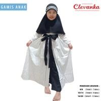 CLEVANKA - Gamis Anak Perempuan / Pakaian Muslim Anak Perempuan 8047 - Putih, 3-4 tahun
