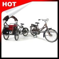 Paket Isi 2 - Miniatur Becak Besi & Miniatur Sepeda Onthel Perempuan