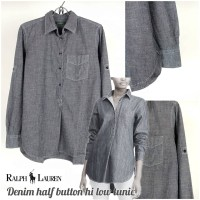 RK104 RL grey denim half button hi low tunic original