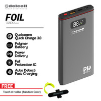 Delcell FOIL Power Bank 10800mAh QC.30+ PD 18 W Free Touch u Holder