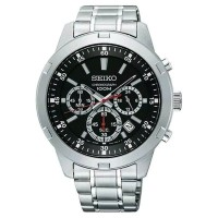 Jam Tangan Pria Seiko Neo Sport Chronograph Quartz Black Dial SKS605P1