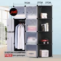 Lemari baju portable lemari pakaian plastik rak susun 8S+4samping