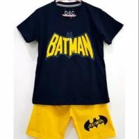 Size 1-10 Setelan Piyama Pendek Anak Karakter Tulisan Batman Navy - Size 1