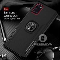 Case Samsung Galaxy A31 Hardcase Ring Carbon Thunder