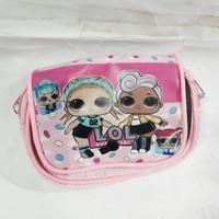 Dompet anak perempuan koin & kertas / tas selempang motif LOL Surprise