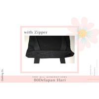 Tas TOTE BAG Kanvas POLOS ( 40 x 30 Ziper/Sleting) Hitam/Putih