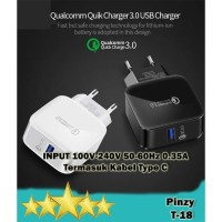 QC3.0 Charger Qualcomm Quick Charge 3.0 + USB Type C Cable (Pinzy T18)
