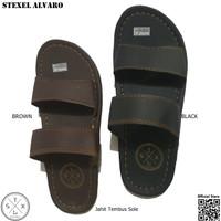 STEXEL ALVARO SANDAL CASUAL PRIA SIMPLE DOUBLE STRAP JAHIT TEMBUS SOLE