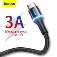 Baseus LED Type-C Fast Charging Cable 3A - Kabel Data Tipe C Halo 1m
