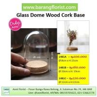 Glass Dome Wood Cork Base dia.12cm (1481C), dome kaca