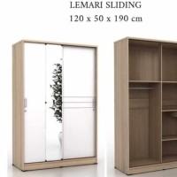 Lemari Pakaian 2 Pintu Cermin Sliding Geser panjang 120 Cm SL120 - Sonoma White