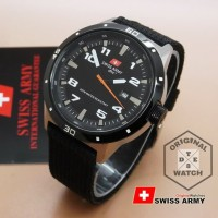 Jam Tangan Pria ORIGINAL Swiss Army Canvas Date Stainless Steel