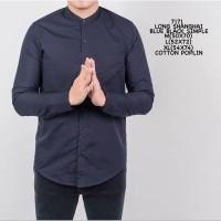 Kemeja Polos Cowok Lengan Panjang Slimfit | Baju Pria Grandad Navy