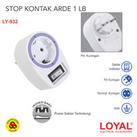 Stop Kontak Arde 1 Lubang dengan Steker + Saklar LY932