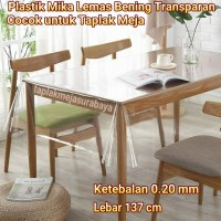 Taplak Meja Makan Bening Transparan - Plastik Mika Meteran 0.20 mm