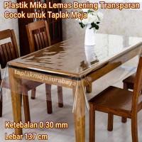 Taplak Meja Makan Bening Transparan - Plastik Mika Meteran 0.30 mm