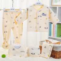 Baju Bayi 0-3 Bulan Baby Gift Set Cartoon Animal Print (5pcs ) v07 - Kuning, 0-3Bulan