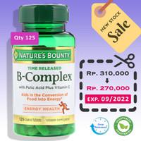 Nature's Bounty B-COMPLEX Time Released 125 Tab Plus FOLIC ACID VIT C