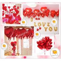 Balon Foil Hati Heart Love Cinta 25cm , 45cm , 57cm JUMBO